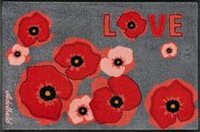 FUßMATTE 50/75 cm Blume Grau, Rot  - Rot/Grau, Basics, Kunststoff/Textil (50/75cm) - Esposa