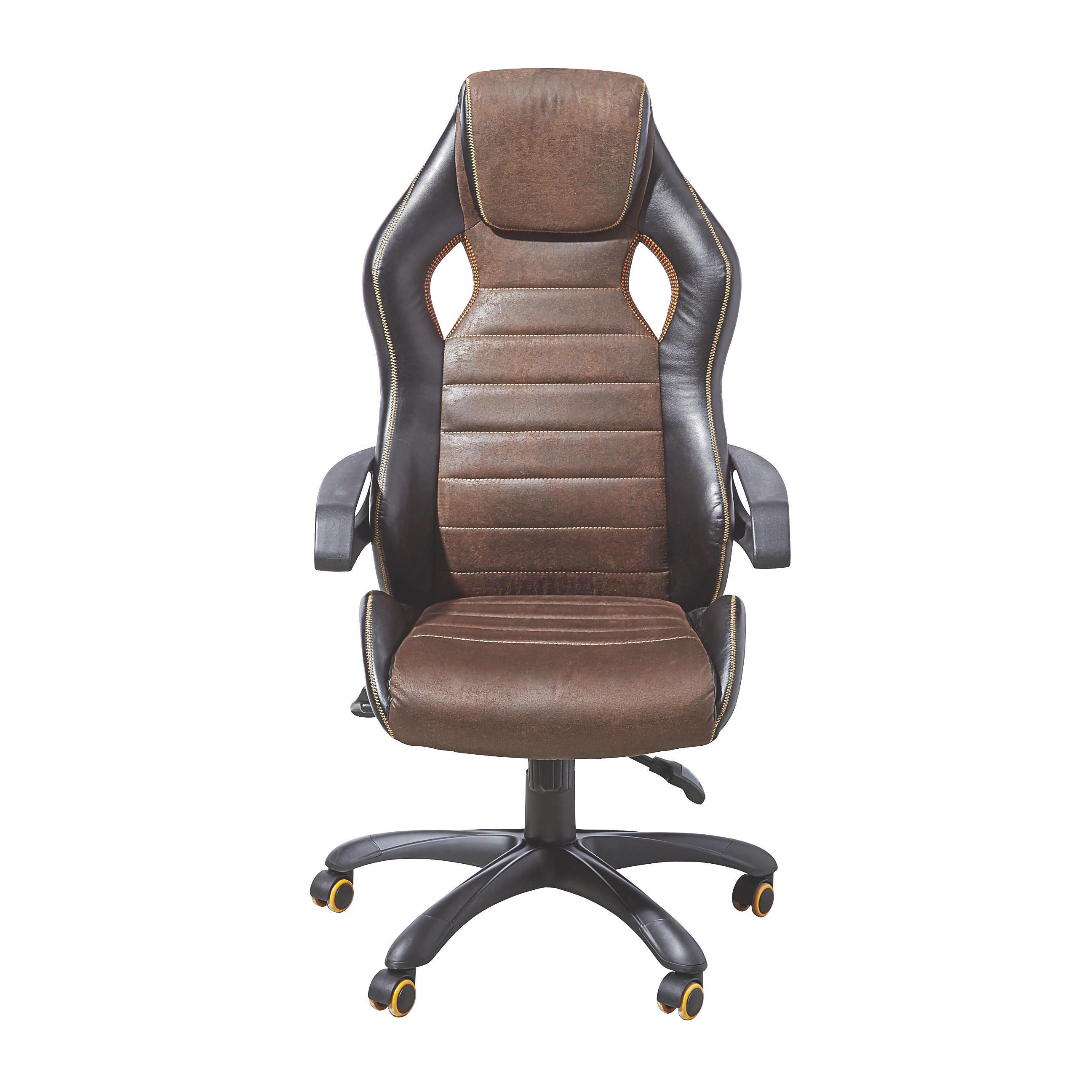 CHEFSESSEL Lederlook Braun, Schwarz - Schwarz/Braun, Design, Kunststoff/Textil (64/122-132/65cm) - XORA