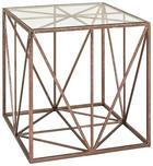 BEISTELLTISCH in Bronzefarben - Bronzefarben, Design, Glas/Metall (50/50/50cm)