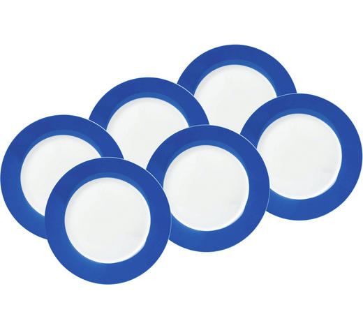 SPEISETELLERSET Porzellan  6-teilig  - Blau/Weiß, Basics, Keramik (27cm)