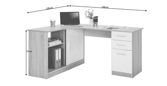 ECKSCHREIBTISCH in Holzwerkstoff 120/75/150 cm  - Eichefarben/Alufarben, KONVENTIONELL, Holzwerkstoff/Kunststoff (120/75/150cm) - Venda
