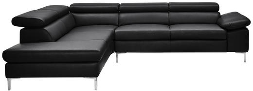 SEDACÍ SOUPRAVA, černá, kůže - barvy stříbra/černá, Design, kov/kůže (224/280cm) - Chilliano