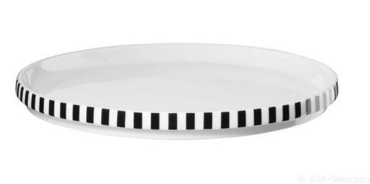DESSERTTELLERSET 2-teilig - Schwarz/Weiß, Design (18,5/1,5cm) - ASA