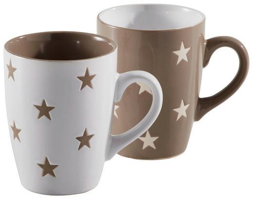 KAFFEEBECHERSET 2-teilig Keramik Braun, Weiß - Braun/Weiß, Basics, Keramik (0,25l)