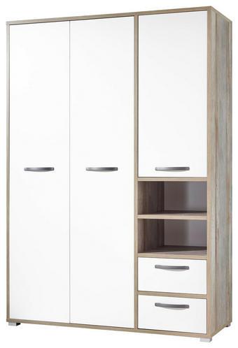 DREHTÜRENSCHRANK Naturfarben, Weiß - Anthrazit/Weiß, KONVENTIONELL, Holzwerkstoff/Kunststoff (138/201/57cm) - Carryhome