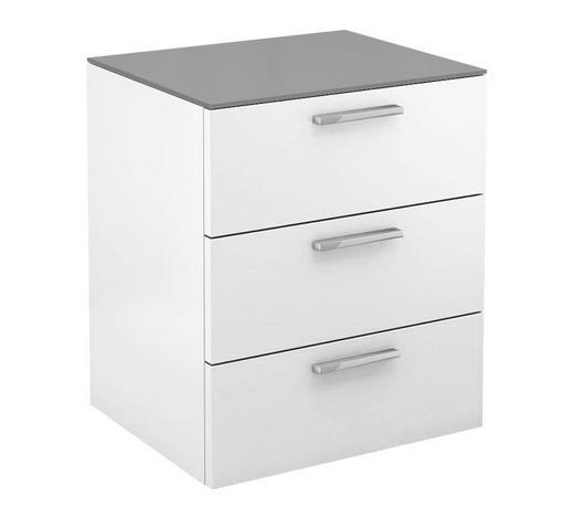 NACHTKÄSTCHEN lackiert Grau, Weiß  - Chromfarben/Weiß, Basics, Glas (50/58,8/40,1cm) - Hülsta