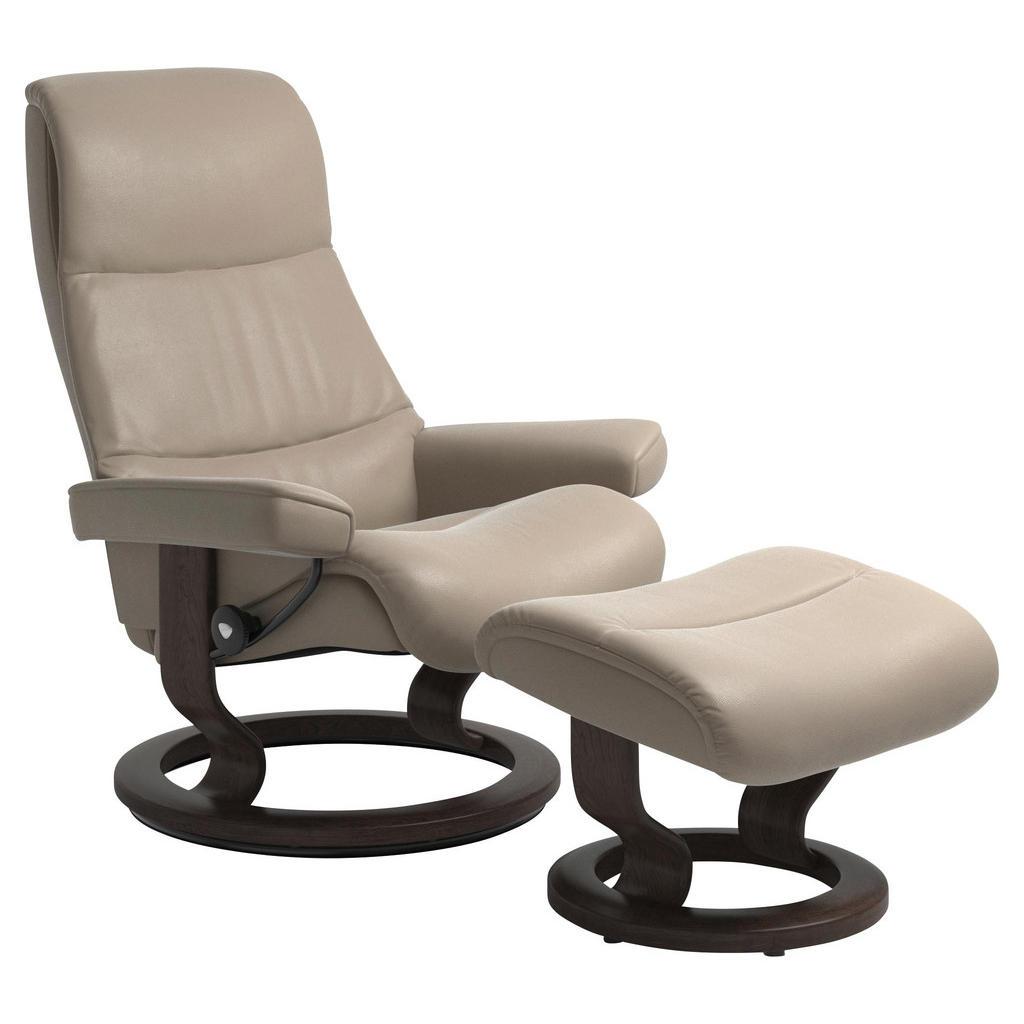 Stressless Sesselset View L Echtleder Hocker, Beige   Wohnzimmer > Sessel > Loungesessel   Leder   Stressless