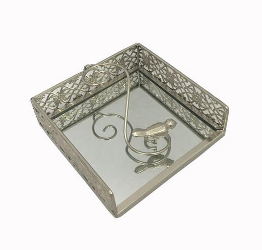 SERVIETTENHALTER - Silberfarben, LIFESTYLE, Glas/Metall (18,5/6/18,5cm) - Ambia Home