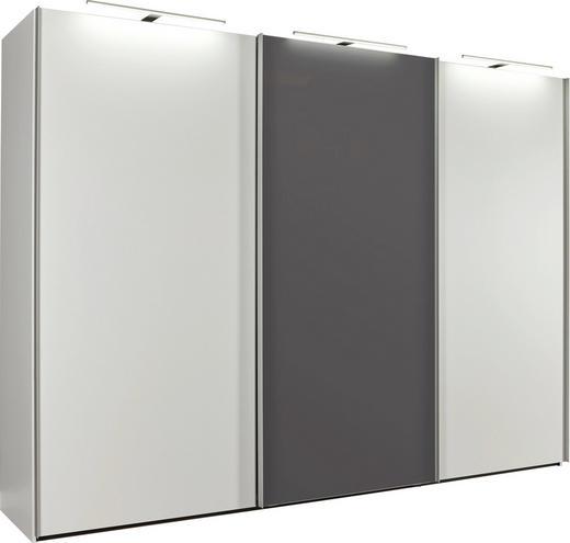 SCHWEBETÜRENSCHRANK 3-türig Graphitfarben, Weiß - Graphitfarben/Alufarben, Design, Glas/Holzwerkstoff (300/223/69cm) - Dieter Knoll