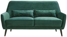 DREISITZER-SOFA in Textil Dunkelgrün  - Dunkelgrün/Schwarz, Trend, Holz/Textil (160/86/80cm) - Carryhome