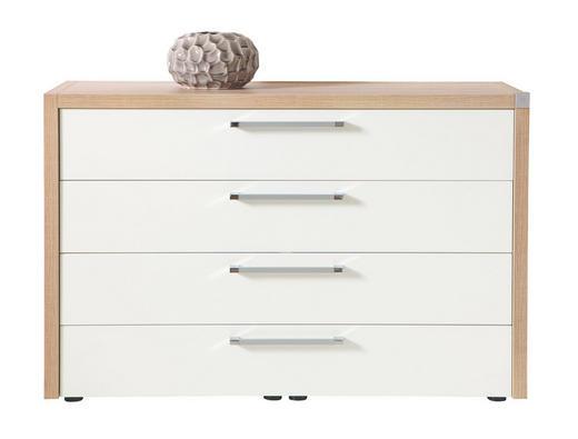 KOMMODE Sonoma Eiche, Weiß - Chromfarben/Alufarben, Design (168/83/46cm) - Musterring
