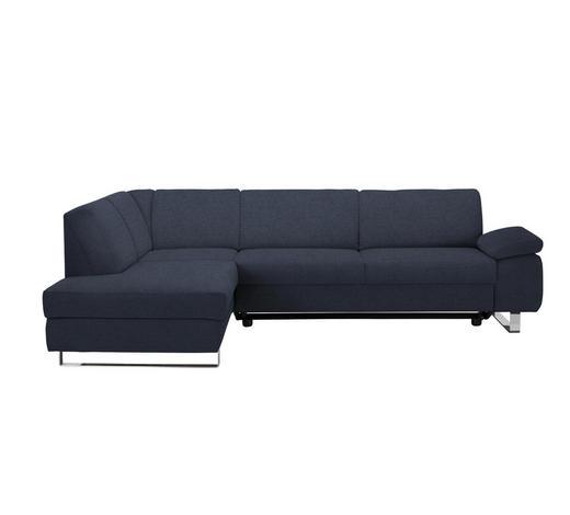 WOHNLANDSCHAFT in Textil Blau - Chromfarben/Blau, Design, Textil/Metall (198/274cm) - Venda