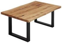 COUCHTISCH Eiche massiv rechteckig Schwarz, Eichefarben  - Eichefarben/Schwarz, Design, Holz/Metall (110/70/45cm) - Valnatura
