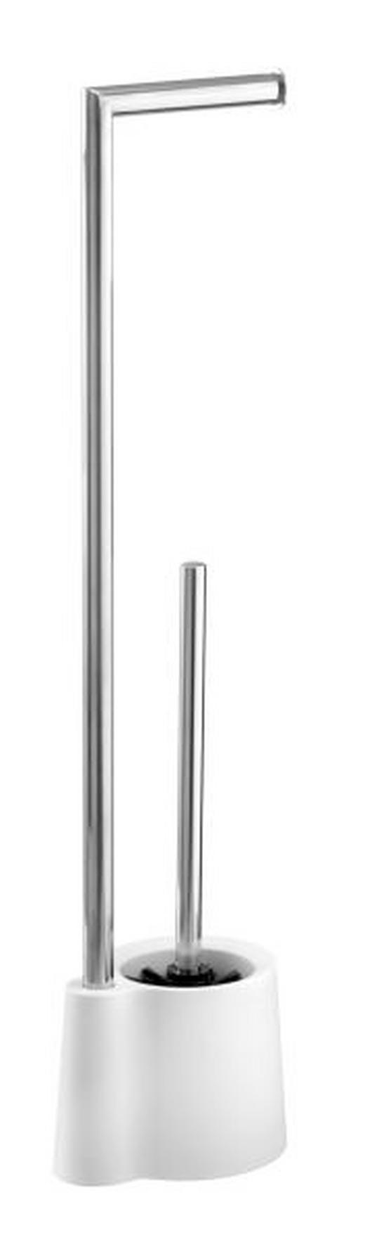 WC-BÜRSTENKOMBINATION - Chromfarben/Weiß, KONVENTIONELL, Kunststoff/Metall (13/16/66,5cm)
