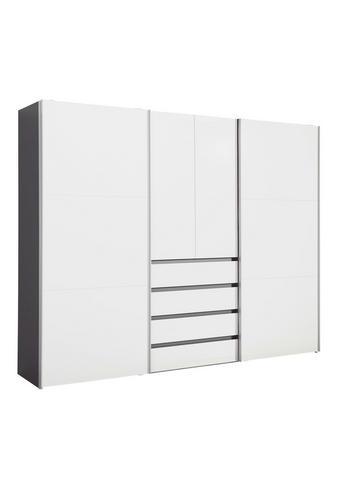 OMARA ZA OBLAČILA, grafit, bela  - aluminij/bela, Design, kovina/leseni material (300/236/68cm) - Hom`in