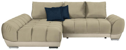 WOHNLANDSCHAFT in Textil Beige, Blau - Blau/Beige, MODERN, Textil/Metall (192/290/cm) - Carryhome