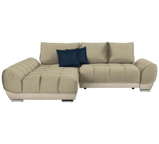 WOHNLANDSCHAFT in Textil Blau, Beige - Blau/Beige, MODERN, Textil/Metall (192/290cm) - Carryhome
