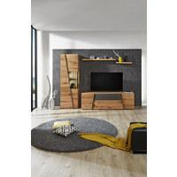 WOHNWAND Wildeiche mehrschichtige Massivholzplatte (Tischlerplatte) Eichefarben, Grau - Eichefarben/Grau, Design, Glas/Holz (272/202/57cm) - Voglauer