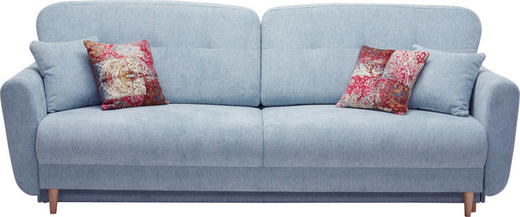 DREISITZER-SOFA Webstoff Hellblau - Multicolor/Hellblau, Design, Holz/Textil (235/87/98cm) - Hom`in