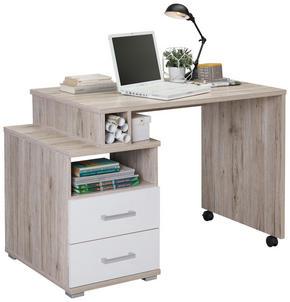 SKRIVBORD - vit/alufärgad, Design, träbaserade material/plast (134/75/60cm) - Carryhome
