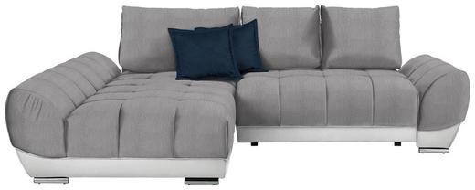 WOHNLANDSCHAFT in Textil Dunkelblau, Hellgrau, Weiß - Hellgrau/Dunkelblau, MODERN, Textil/Metall (192/290/cm) - Carryhome
