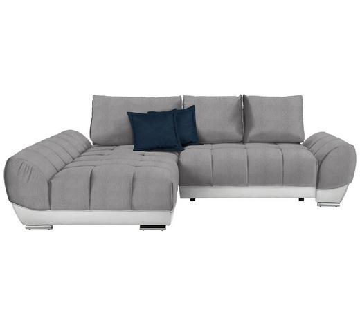 WOHNLANDSCHAFT in Textil Weiß, Hellgrau, Dunkelblau  - Hellgrau/Weiß, MODERN, Textil/Metall (192/290cm) - Carryhome