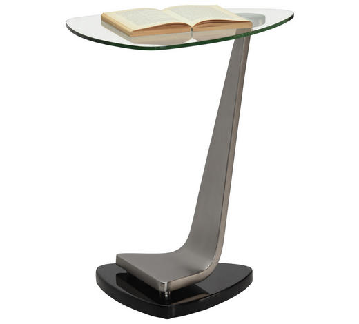BEISTELLTISCH in Schwarz, Silberfarben - Silberfarben/Schwarz, Design, Glas/Holzwerkstoff (45,7/54,6/45,7cm) - Xora