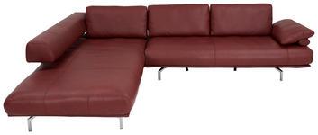WOHNLANDSCHAFT in Leder Weinrot  - Chromfarben/Weinrot, Design, Leder/Metall (254/305cm) - Dieter Knoll