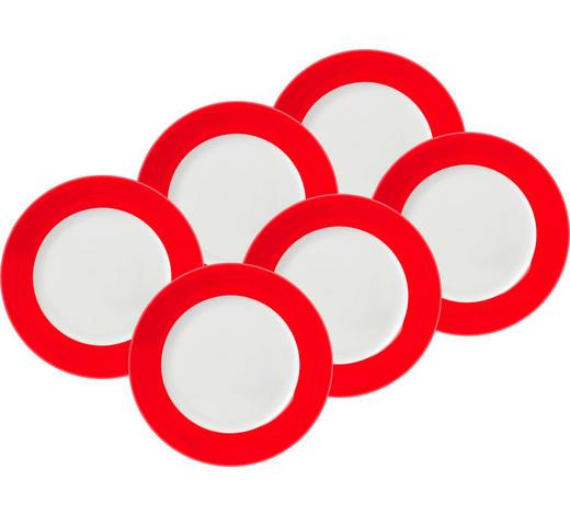 SPEISETELLERSET Porzellan  6-teilig  - Rot/Weiß, Basics, Keramik (26,5cm)