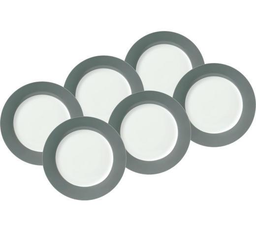 DESSERTTELLERSET Porzellan  6-teilig  - Weiß/Grau, Basics, Keramik (20cm)