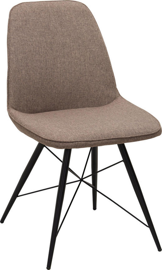 STOL, kovina, tekstil rjava, črna - črna/rjava, Design, kovina/tekstil (60/86/58cm) - Carryhome