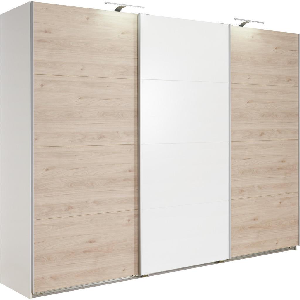 Carryhome SKŘÍŇ S POSUVNÝMI DVEŘMI, bílá, barvy dubu, 270/210/65 cm