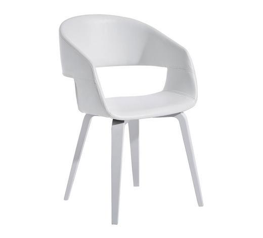 STUHL Lederlook Weiß  - Weiß, KONVENTIONELL, Holz/Textil (49,5/77/52,5cm) - Ambia Home