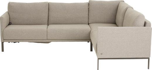 WOHNLANDSCHAFT Beige, Braun - Beige/Braun, Design, Textil/Metall (261-284 208-231 cm) - Rolf Benz