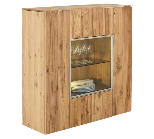 HIGHBOARD 128/130/42,3 cm  - Eichefarben/Silberfarben, Natur, Glas/Holz (128/130/42,3cm) - Voglauer