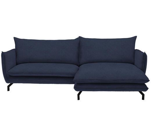 WOHNLANDSCHAFT in Textil Dunkelblau  - Schwarz/Dunkelblau, MODERN, Textil/Metall (259/175cm) - Hom`in