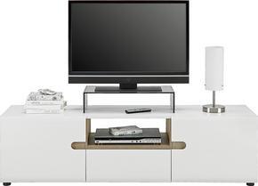 MEDIABÄNK - vit/ekfärgad, Design, träbaserade material (164/46/42cm) - Carryhome