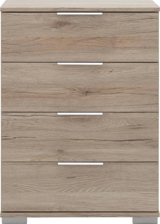 NACHTKÄSTCHEN Eichefarben - Chromfarben/Eichefarben, Design, Kunststoff/Metall (52/74/38cm) - CARRYHOME