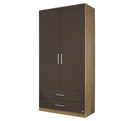 DREHTÜRENSCHRANK in Grau, Eichefarben - Eichefarben/Silberfarben, Design, Holzwerkstoff/Kunststoff (91/197/54cm) - Carryhome