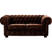 Chesterfield Zweisitzer-Sofa Lederlook Braun - Wengefarben/Braun, LIFESTYLE, Holz/Textil (180/74/100cm) - Carryhome
