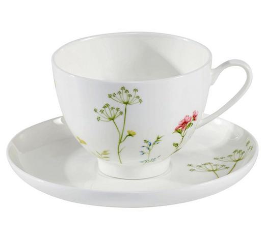 ŠÁLEK NA KÁVU S PODŠÁLKEM, kostní porcelán (bone china) - bílá/vícebarevná, Lifestyle, keramika - Novel