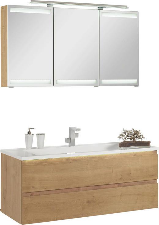 BADEZIMMER - Eichefarben/Weiß, Design, Glas/Holzwerkstoff (120cm)