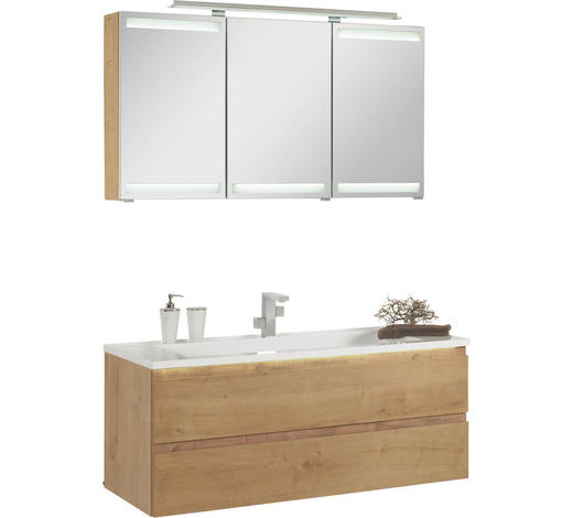 KOUPELNA, barvy dubu - bílá/barvy dubu, Design, kompozitní dřevo/umělá hmota (120cm)