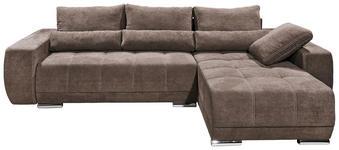 WOHNLANDSCHAFT in Textil, Holzwerkstoff Braun  - Silberfarben/Braun, KONVENTIONELL, Holzwerkstoff/Kunststoff (305/189cm) - Carryhome