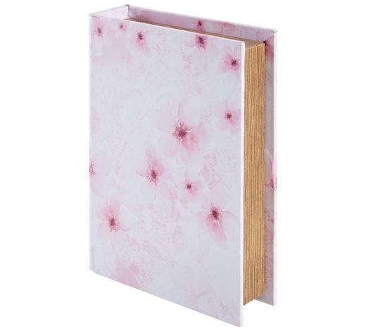 BÜCHERBOX 23/17/5 cm - Pink/Weiß, Trend, Holzwerkstoff (23/17/5cm) - Ambia Home
