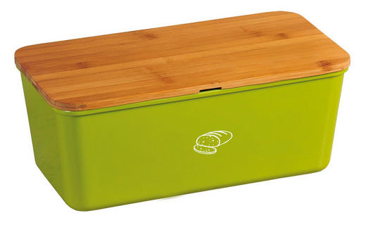BOX NA CHLEBA - zelená/přírodní barvy, Basics, dřevo/umělá hmota (34 18 13cm)