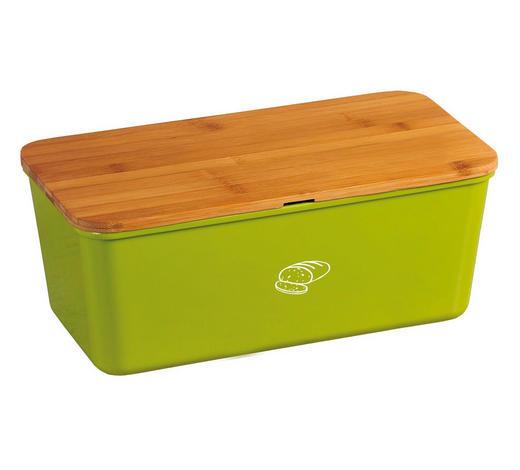 BOX NA CHLEBA - zelená/přírodní barvy, Basics, dřevo/umělá hmota (34/18/13cm)
