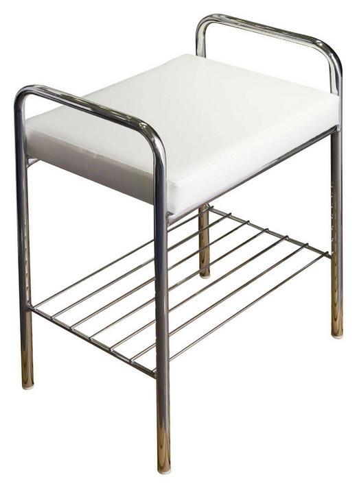 BADHOCKER Chromfarben, Weiß - Chromfarben/Weiß, Design, Textil/Metall (49/59/34cm)