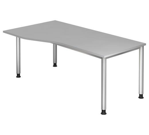 SCHREIBTISCH - Silberfarben/Grau, KONVENTIONELL, Holzwerkstoff/Metall (180/68 (76)/80 (100)cm)