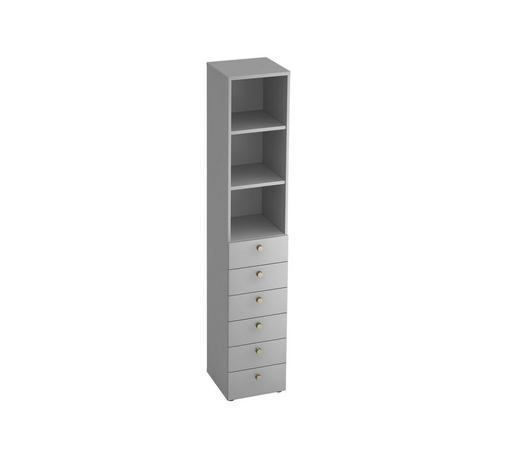 REGAL in Grau - Alufarben/Grau, KONVENTIONELL, Holzwerkstoff/Metall (40/215,6/42cm)